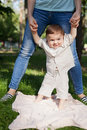 Little boy is learning to walk with the support Royalty Free Stock Photo