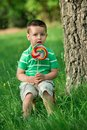 Little boy licking a lollipop portrait of beautiful joyful with outdoors Stock Image