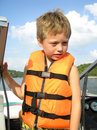 Little Boy In Lifejacket Stock Image