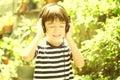 Little Boy Listening The Sound...