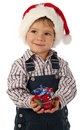 Little boy with little Christmas gift box Royalty Free Stock Photo