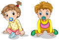 A little boy and a little girl illustration of on white background Royalty Free Stock Image