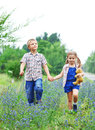 Little boy and little girl with walking Stock Photography
