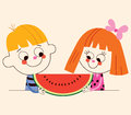 Little boy and little girl with watermelon illustration Royalty Free Stock Photo