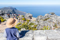 Little boy looking at the ocean view from top of Table Mountain Royalty Free Stock Photo