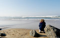 Little boy looking at the ocean Royalty Free Stock Photo