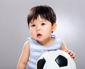 Little boy love football Royalty Free Stock Photo