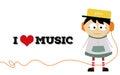 A little boy love music