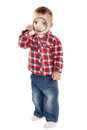 Little boy with magnifier on white Stock Photos
