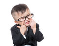 Little boy making funny face isolated on white Royalty Free Stock Photography