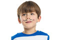 Little boy with a mustache drawn portrait of happy child black isolated on white background Royalty Free Stock Images