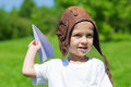 Little boy in the old helmet pilot Royalty Free Stock Photo