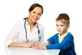 Little boy at paediatrician doing vaccination Stock Photos