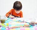 Little boy painting water color Stock Photography