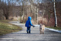 Little boy in the park with his dog friend walking Stock Photography