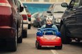 Little boy on parking cute Royalty Free Stock Image