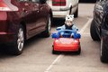Little boy on parking cute Royalty Free Stock Images