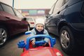 Little boy on parking cute Stock Images