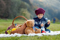 Little boy on a picnic with basket and teddy bear Stock Image