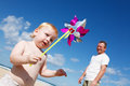Little boy with pinwheel Stock Image