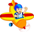 Little boy in a plane the was riding the sky Royalty Free Stock Images