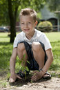 Little boy planting Royalty Free Stock Photo