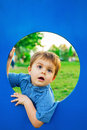 Little boy in playhouse close up of cute Royalty Free Stock Photo