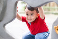 Little boy in playhouse Royalty Free Stock Photo