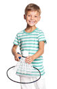 Little boy playing badminton Royalty Free Stock Photo