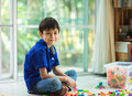 Little boy playing block indoor house
