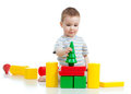Little boy playing with building blocks Royalty Free Stock Images