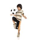 Little boy playing football isolated on white background Royalty Free Stock Photos
