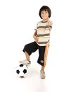 Little boy playing football isolated on white background Stock Image