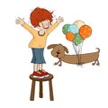 Little boy playing with his dog vector illustration Royalty Free Stock Photos