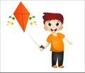 Little boy playing kite orange shirt Royalty Free Stock Photo