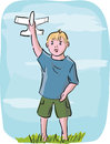 Little boy playing with model airplane illustration in outline style of Royalty Free Stock Photo