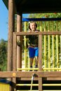 Little boy is playing on the playground Royalty Free Stock Photo