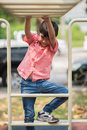 Little boy playing at playground climbing Royalty Free Stock Photo