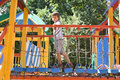 Little boy playing on playground Royalty Free Stock Photo