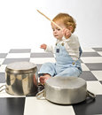 Little boy playing with pots Royalty Free Stock Photography