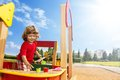 Little boy playing in sandbox happy years old child Stock Image