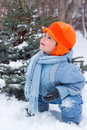 Little boy playing snowballs Royalty Free Stock Image