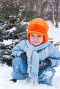 Little boy playing snowballs Royalty Free Stock Photography