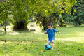 Little boy playing soccer Royalty Free Stock Photo