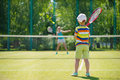 Little boy playing tennis Royalty Free Stock Photo
