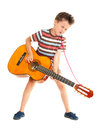 Little boy plays guitar country Stock Image
