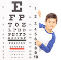 Little boy pointing on an eyesight test with stick isolated white background shot tilt and shift lens Royalty Free Stock Image
