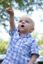 Little boy pointing towards the sky adorable blond blue eyed in wonder Stock Photography