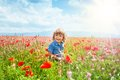 Little boy in poppy field Royalty Free Stock Photo