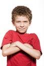 Little boy portrait frown sulk Stock Photo